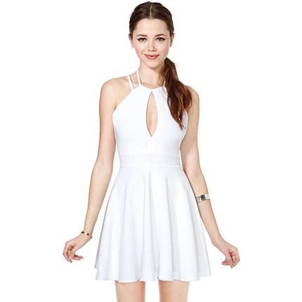 **พรีออเดอร์** ชุดเดรสผู้หญิงแฟชั่นยุโรปใหม่ แขนกุด กระโปรงพลีท เปิดหลัง แบบเก๋ เท่ห์ / **Preorder** New European Fashion Slim Sexy Backless Sleeveless Pleated Dress