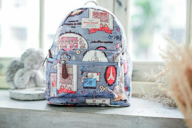 กระเป๋าเป้แฟชั่น SWEET LEMON สวยหวานน่ารัก ผลิตจากผ้า Cotton-Polyester/Canvas เคลือบด้านกันน้ำ 100% สามารถทำความสะอาดได้ โดยการนำผ้าชุบน้ำเช็ดกระเป๋า ภาพถ่ายจากสินค้าจริง Size : 12 x 23 x 31 cm