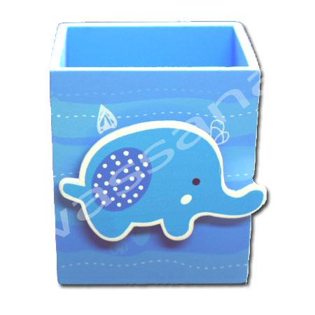 กล่องใส่ดินสอมีคลิปหนีบกระดาษ สีฟ้า-ขาว ลายช้าง
