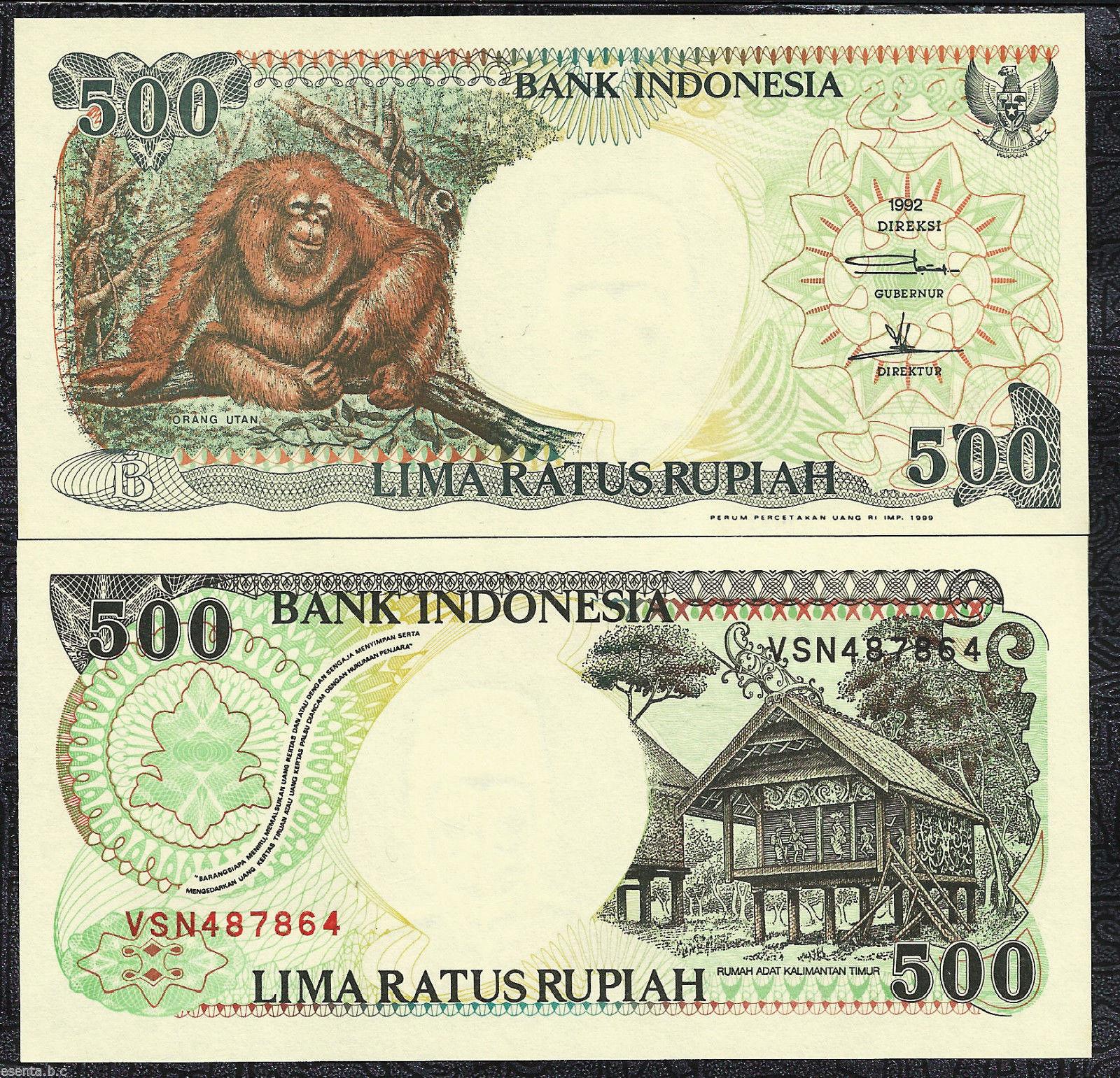 ธนบัตรประเทศ อินโดนีเซีย ชนิดราคา 500 RUPIAH (รูเปีย) รุ่นปี พ.ศ. 2542 หรือ ค.ศ. 1999