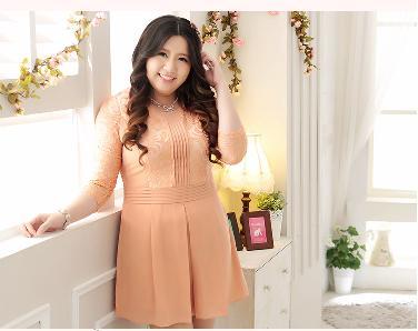 [พรีออเดอร์] เดรสแฟชั่นเกาหลีใหม่ สวยสง่าและสีหวาน แขนลูกไม้ สำหรับผู้หญิงไซส์ใหญ่ - [Preorder] New Korean Fashion Dress with Thin Lace in Long-Sleeve for Large Size Woman