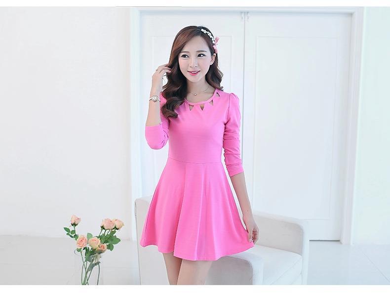 [พรีออเดอร์] ชุดเดรสผู้หญิงแฟชั่นเกาหลีใหม่ แขนยาว แบบเก๋ เท่ห์ - [Preorder] New Korean Fashion Slim Sexy Hollow Long-sleeved Dress