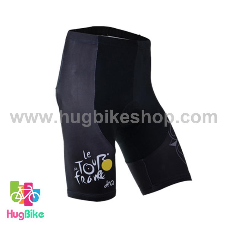 กางเกงจักรยานขาสั้นทีม Le tour de france 14 สีดำ