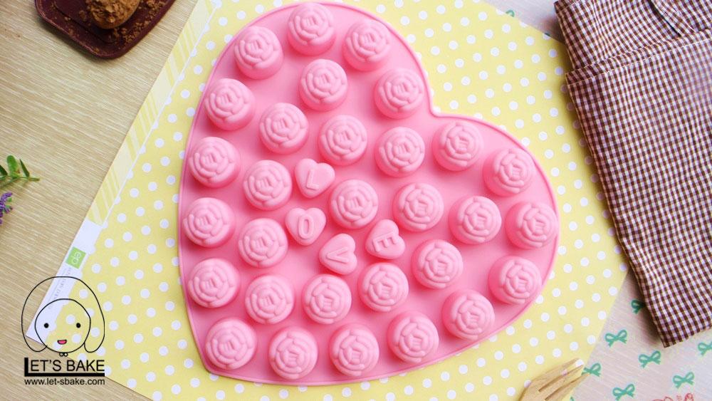 พิมพ์ขนม ดอกไม้+LOVE รหัส B060