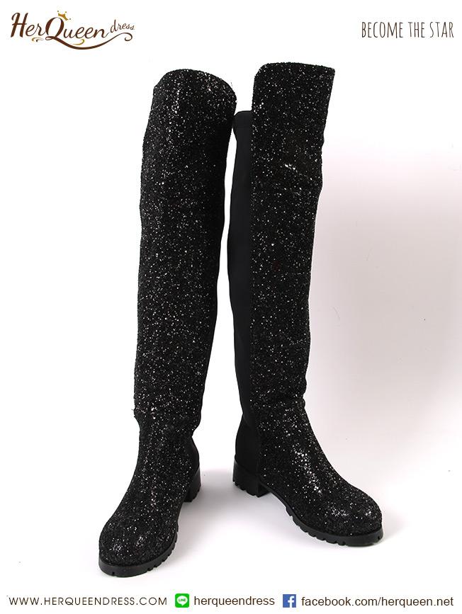 เช่ารองเท้า &#x2665 รองเท้าบู๊ทหนัง สูงเหนือเข่า รุ่นเกล็ด - สีดำ