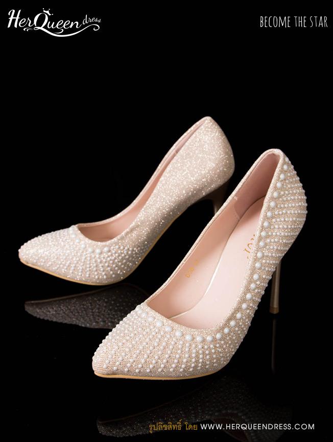 เช่ารองเท้า &#x2665 รองเท้าส้นสูง 3 นิ้ว เกล็ดสีโรสโกลว์ แต่งมุกขาว