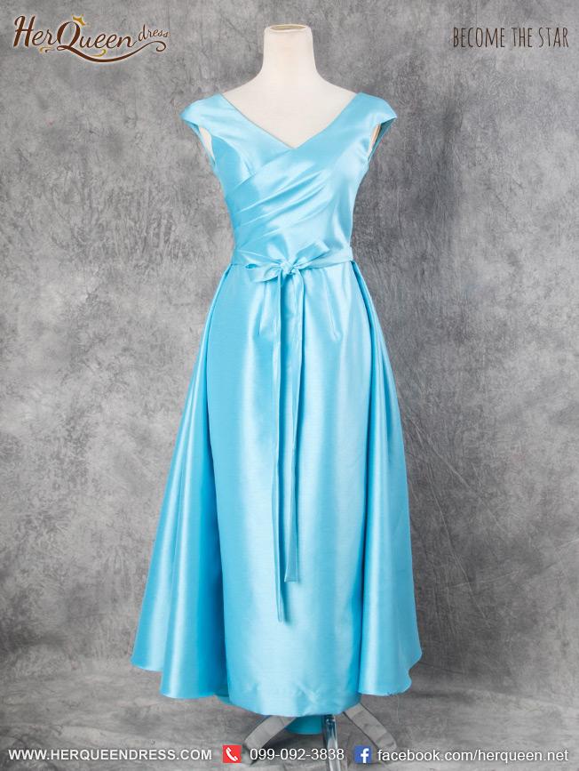 เช่าชุดราตรี &#x2665 ชุดราตรียาว ด้านหลังแต่งผ้าหางยาว ใส่ได้สองแบบ สีฟ้า
