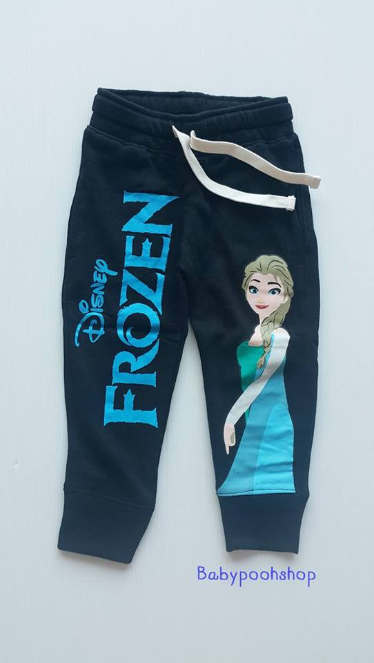 กางเกงขาจั๊ม สกรีนลาย FROZEN สีดำ ด้านในผ้าเกล็ดปลา size : 2-4y / 4-6y