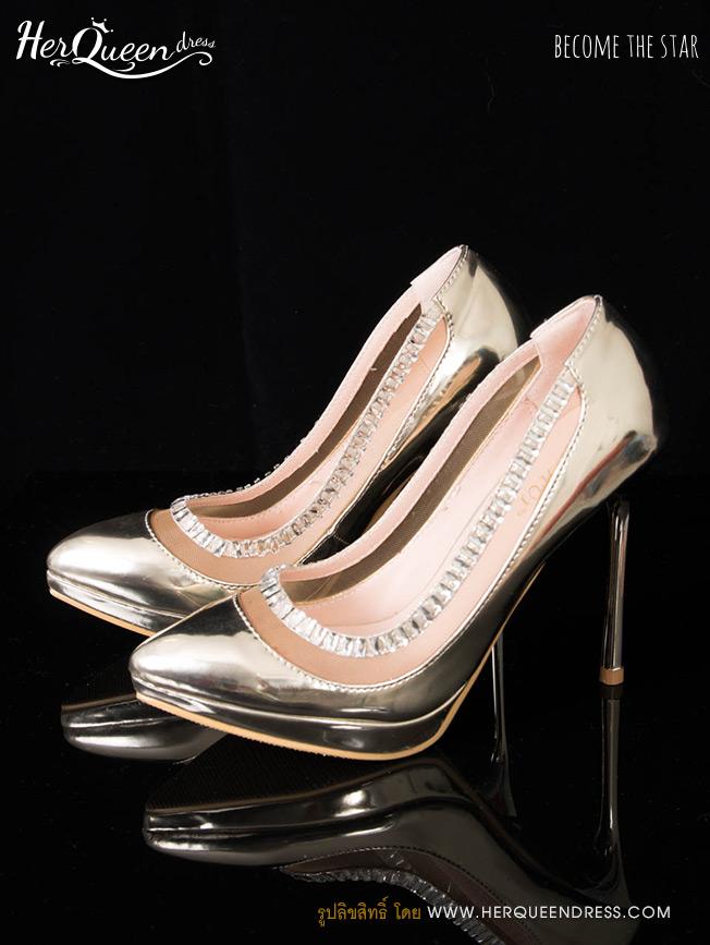 &#x2665 รองเท้าส้นสูง 4 นิ้ว แต่งเพชรเหลี่ยมขอบซีทรู - สีทอง