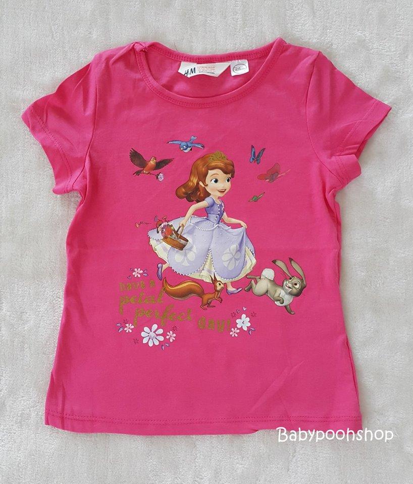 H&M เสื้อยืด ลายเจ้าหญิงโซเฟีย สีชมพูเข้ม (สกรีนมีรอยแตก) size : 1-2y