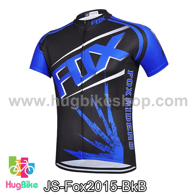 เสื้อจักรยานแขนสั้นทีม Fox 2015 สีดำน้ำเงิน สั่งจอง (Pre-order)