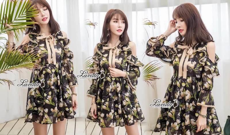 เดรสเกาหลีผ้าออแกดี้แบบนิ่มพิมพ์ลายดอกไม้โทนเขียวครีม