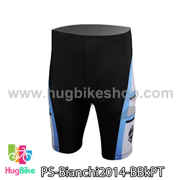 กางเกงจักรยานขาสั้นทีม Bianchi 14 สีดำฟ้า สั่งจอง (Pre-order)