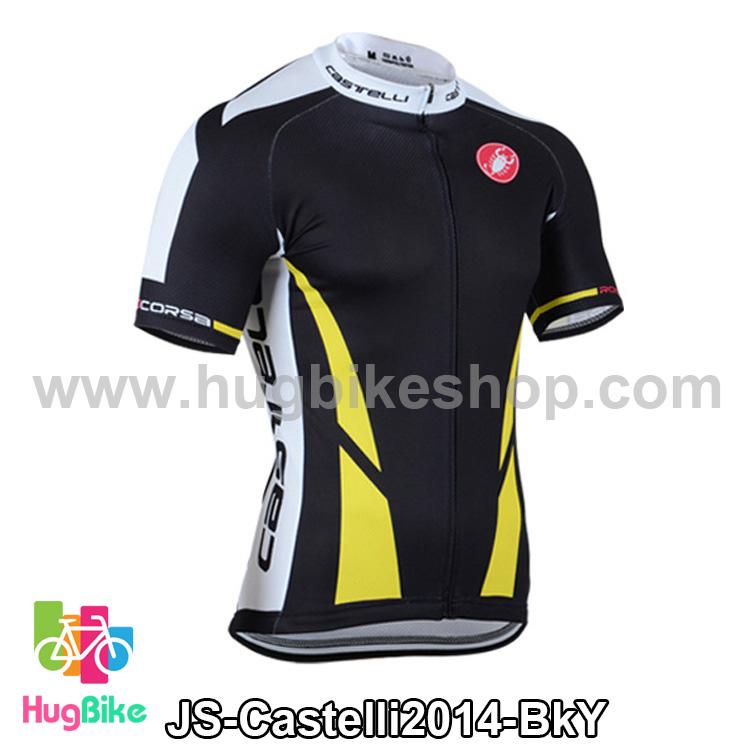 เสื้อจักรยานแขนสั้นทีม Castelli 2014 สีดำเหลือง สั่งจอง (Pre-order)