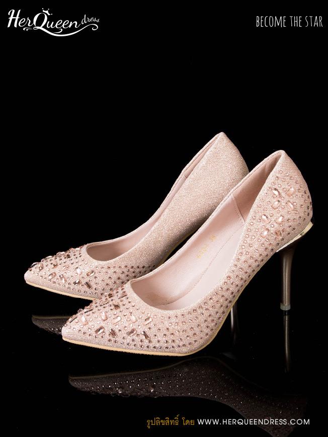 เช่ารองเท้า &#x2665 รองเท้าส้นสูง 3 นิ้ว แต่งคริสตัลทรงเหลี่ยมระยิบระยับ สีทองโรสโกลด์