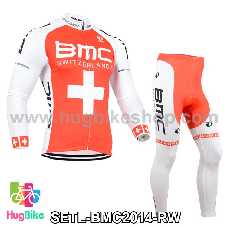 ชุดจักรยานแขนยาวทีม BMC 14 สีแดงขาว สั่งจอง (Pre-order)