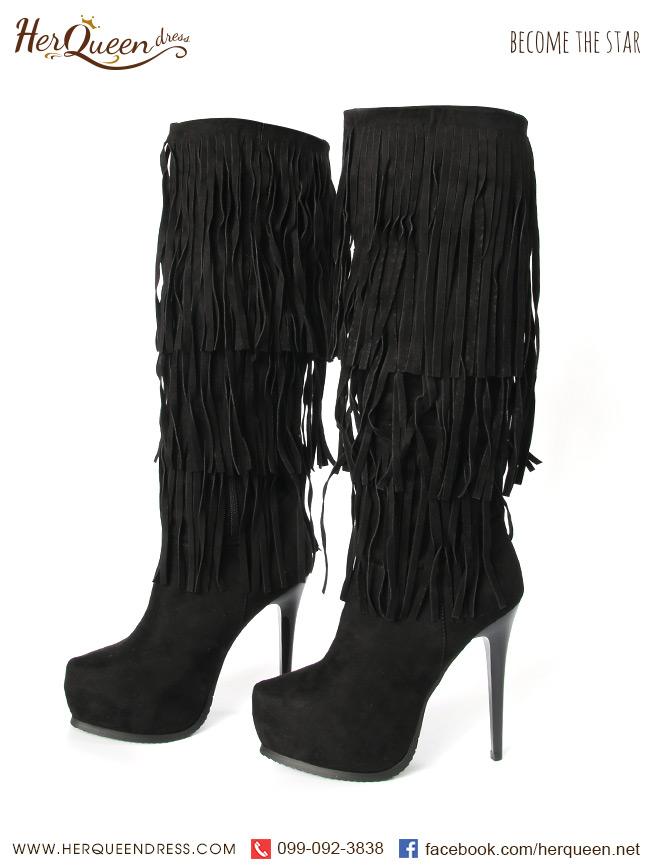 เช่ารองเท้า &#x2665 รองเท้าบู๊ท แต่งพู่ สีดำ แนวตะวันตก อินเดียแดง West world