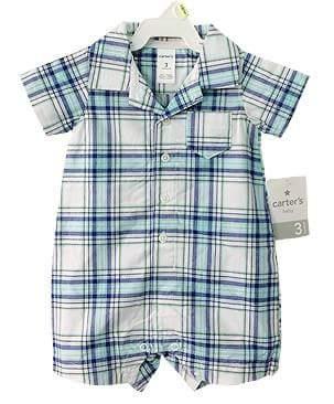 Carter's : บอดี้สูท สก็อตน้ำเงิน ผ้า cotton size 18m