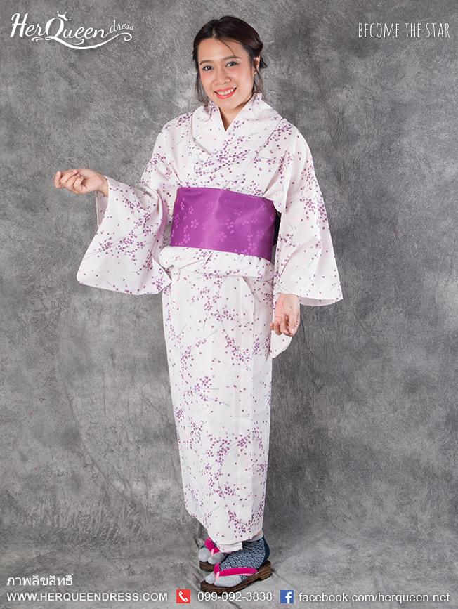 เช่าชุดแฟนซี &#x2665 ชุดญี่ปุ่น กิโมโน สีม่วงอ่อนลายกลีบดอกไม้เล็กๆ สีม่วง