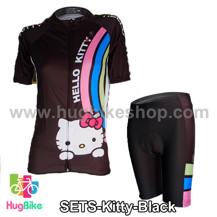 ชุดจักรยานผู้หญิงแขนสั้นขาสั้น Hello Kitty สีดำ สั่งจอง (Pre-order)