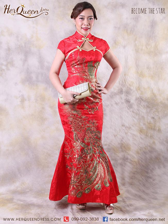 เช่าชุดแฟนซี&#x2665 ชุดแฟนซี ชุดจีน ชุดกี่เพ้า สีแดง ปักลายหงส์สีทอง