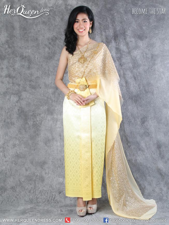 เช่าชุดไทย&#x2665 ชุดไทยสไบเกล็ด 2 ชั้น ผ้าถุงหน้านาง ไล่โทนสนี