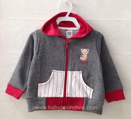**Carter's** : เสื้อแจ๊คเก็ทสีเทาเข้ม ปักรูปหมี ซิปหน้า มีฮูด size 1T