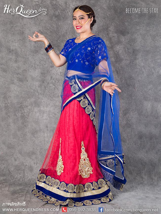 เช่าชุดแฟนซี &#x2665 ชุดแฟนซี ชุดอินเดีย ชุดแขก ส่าหรี - ไซส์ใหญ่ รุ่น 3 ชิ้น โทนชมพูน้ำเงิน