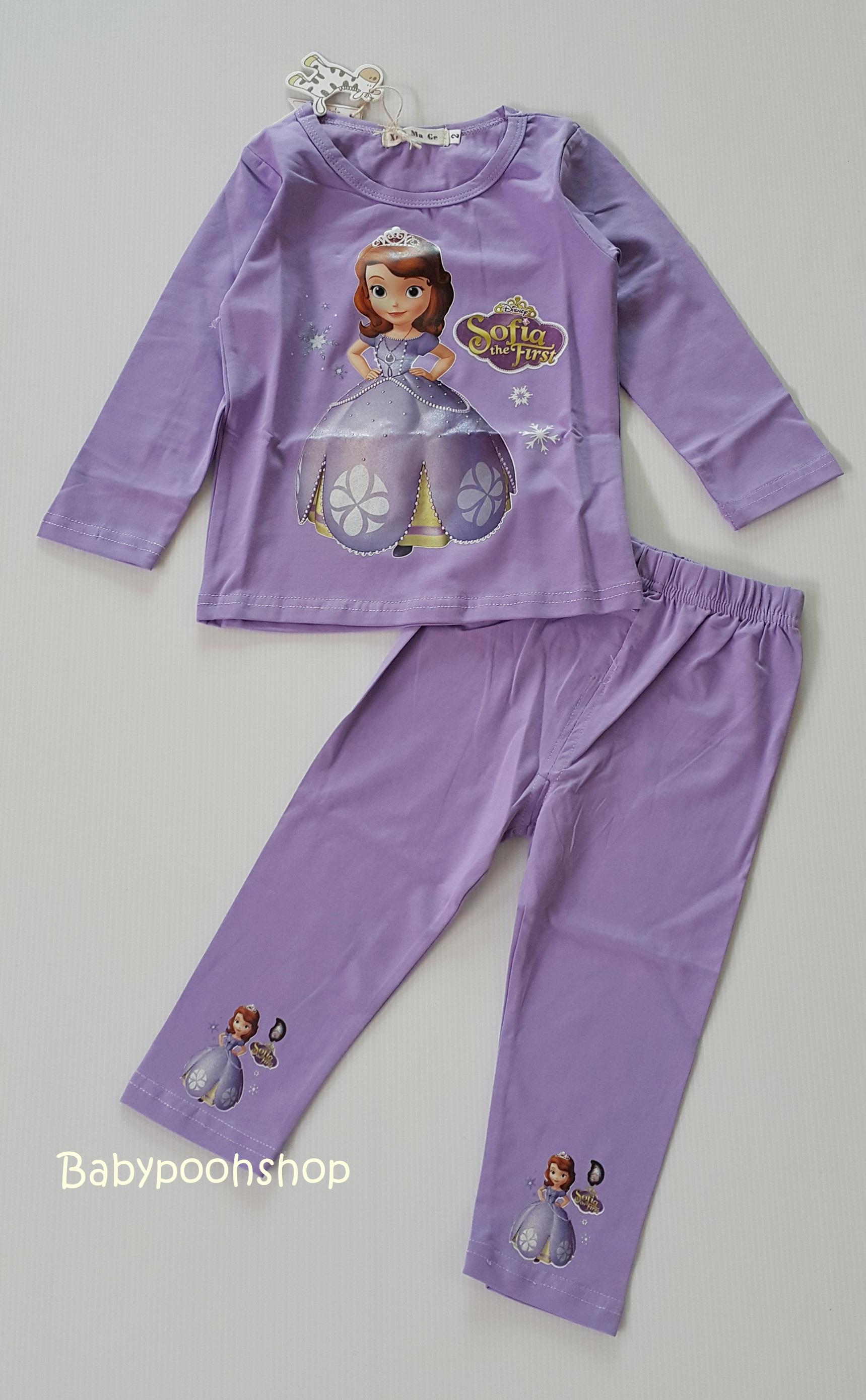 ชุดเซ็ท เสื้อ+กางเกงขายาว สกรีนลายเจ้าหญิงโซเฟีย สีม่วง size : 10 (8-9y)