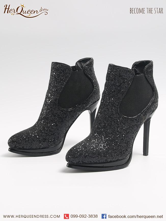 เช่ารองเท้า &#x2665 รองเท้าส้นสูง 4.5 นิ้ว เกล็ดดำล้วน