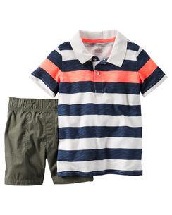 Carter's : ชุดเซ็ท เสื้อโปโล ลายขวางสีน้ำเงิน ส้ม พร้อม กางเกง ขาสั้น สีเขียวขี้ม้า size : 6m / 9m / 12m / 18m / 24m