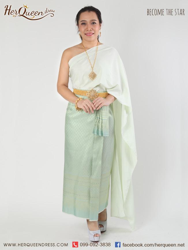 เช่าชุดไทย&#x2665 ชุดไทย สไบแม่เรไร สีเขียว