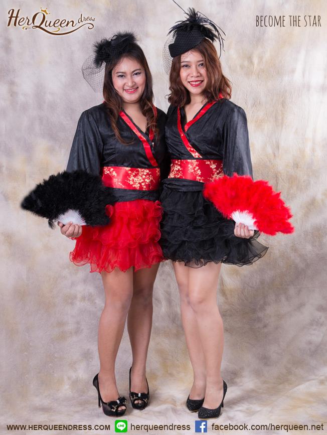 เช่าชุดแฟนซี &#x2665 ชุดแฟนซี กิโมโน กระโปรงฟู - สีดำ, สีแดง