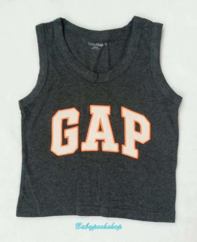 GapKids : เสื้อกล้าม ติดโลโก้ GAP ตัวใหญ่ เนื้อผ้านิ่ม ใส่สบายค่ะ สีเทาเข้ม size : 130 / 140 / 150
