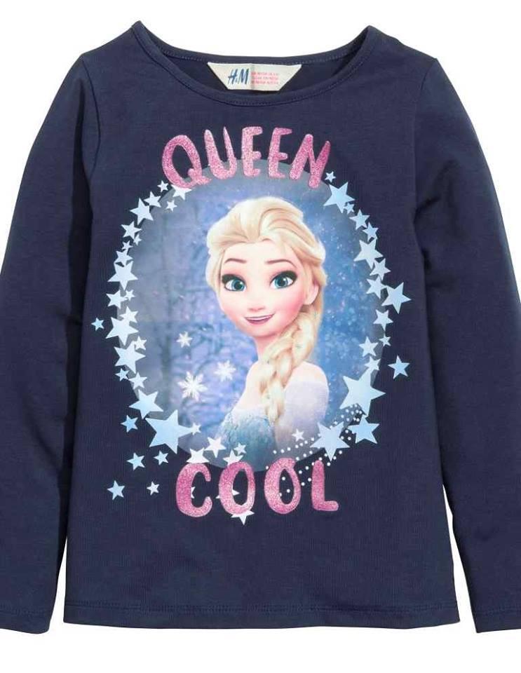 H&M : เสื้อแขนยาว เจ้าหญิงเอลซ่า Queen Cool สีกรม size : 1.5-2y