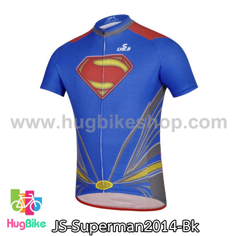 เสื้อจักรยานแขนสั้น Superman 2014 สีน้ำเงินแดง สั่งจอง (Pre-order)