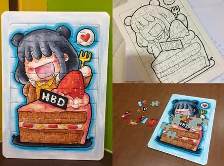 ขายส่ง 12แผ่น จิ๊กซอว์การ์ดสีขาวล้วน DIY Happiness is handmade