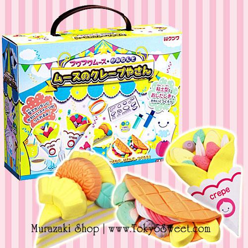 พร้อมส่ง ** Kutsuwa Fuwa Fuwa Mousse Clay Making Kit [Crepe Shop] เซ็ตตกแต่งดินญี่ปุ่นรูปเครปต่างๆ เปเปอร์เคลของญี่ปุ่นจะนุ่มนิ่มน่าสัมผัส เล่นแล้วเพลินมากๆ ค่ะ