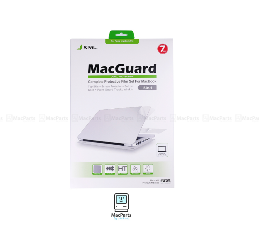 "JCPAL MacGuard 5 in 1 Set - Macbook Pro Retina 15"" (Top Skin+Screer Protector+Bottom Skin+Palm Guard Trackpad Skin)"