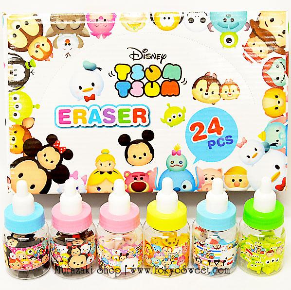 พร้อมส่ง ** Disney TSUM TSUM Fancy Eraser in Baby Bottle ยางลบลายดิสนีย์ซูมซูมในขวดนมสุดน่ารัก 1 กล่องใหญ่ (มีทั้งหมด 24 ขวด 6 ลาย)