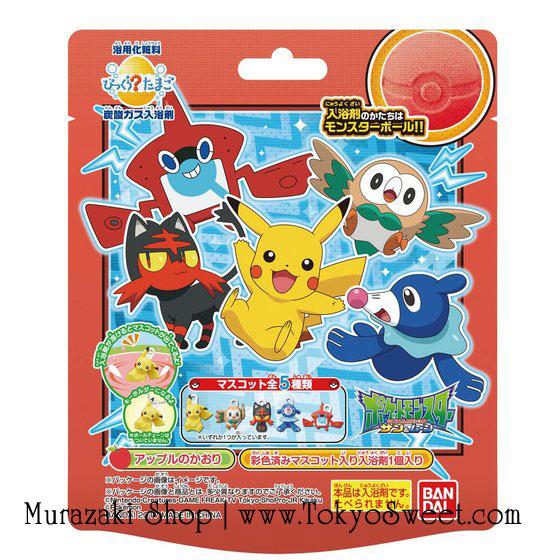 พร้อมส่ง ** Pokemon Monster Sun & Moon Bath Ball ลูกบอลกลิ่นหอมรูปโปเกม่อนบอล ใช้โยนลงอ่างอาบน้ำเพื่อให้อ่างอาบน้ำมีกลิ่นอโรม่าหอมๆ เมื่อละลายหมดแล้วจะมีตัวการ์ตูนโปเกม่อนออกมา มีทั้งหมด 5 แบบ (สินค้าเป็นแบบสุ่ม) ให้คุณหนูๆ ได้สนุกสนานกับการอาบน้ำ