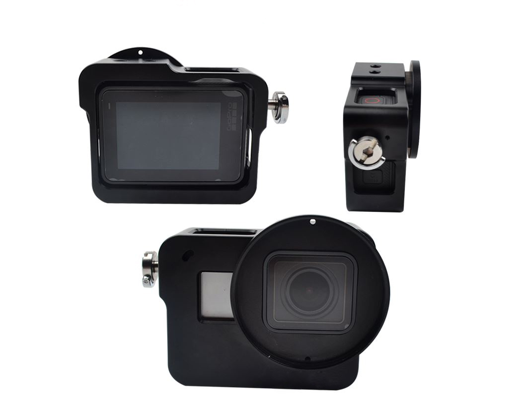 Aluminium Frame Housing Case With Back Cover + 52mm UV filter and Lens Cap For Gopro Hero 5 - Black