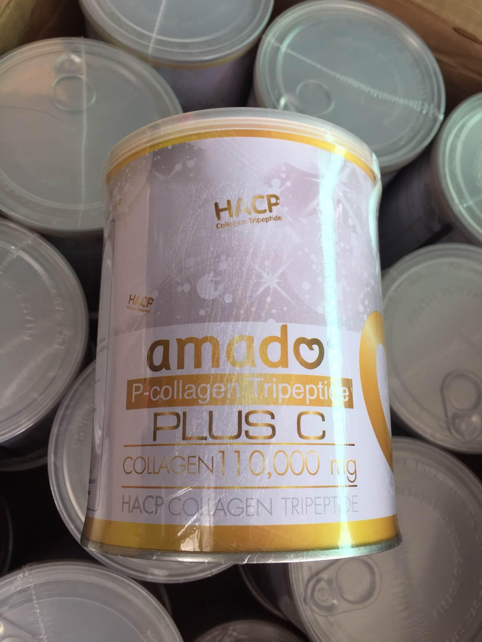 ( (2 ปุก ฟรี 1 ปุก ) Amado P-Collagen Tripeptide Plus C 110,000 Mg. อมาโด้ พี คอลลาเจน ไตรเปปไทด์ พลัส สูตรใหม่ขาวไว 2 เท่า