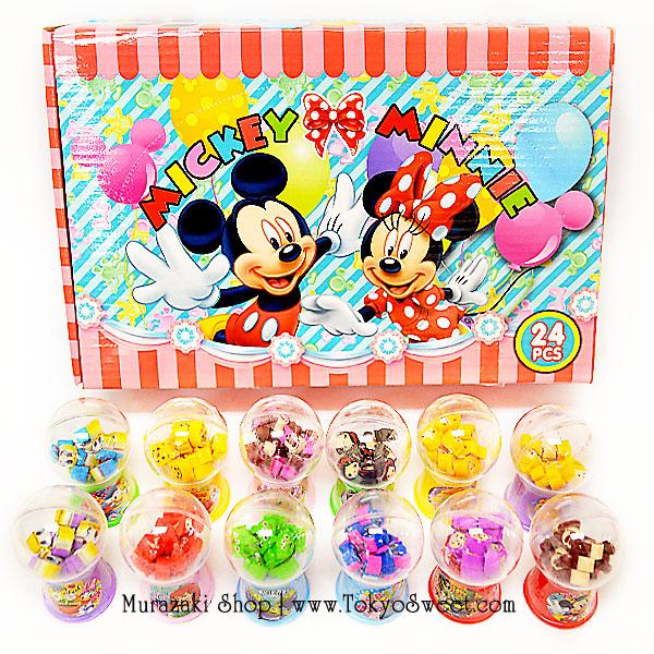 พร้อมส่ง ** Disney mini Eraser in Capsule Toy ยางลบลายดิสนีย์ในตู้หมุนไข่สุดน่ารัก หมุนเล่นได้จริงๆ 1 กล่องใหญ่ (มีทั้งหมด 24 ชิ้น 12 ลาย)
