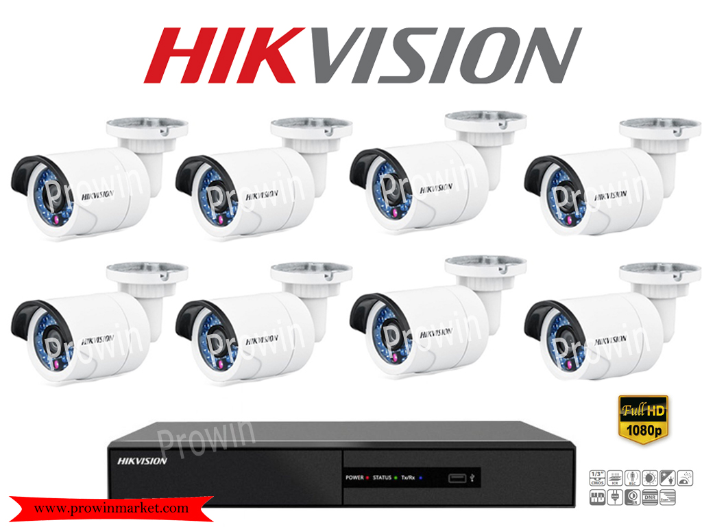 HIKVISION (( Camera set 8 )) DS-2CE16D0T-IR x 8 DS-7208HQHI-F2/N x 1