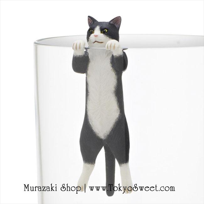 พร้อมส่ง ** Neko เกาะแก้วรูปน้องแมวเหมียวสุดน่ารัก สีดำ-ขาว (ทานไม่ได้)