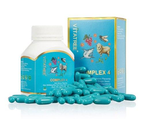 Vitatree 4 Complex ขนาด 60 เม็ด วิตามินรวม รกแกะ+องุ่น+นมผึ้ง+น้ำมันตับปลาฉลาม ครบใน 1 เม็ด