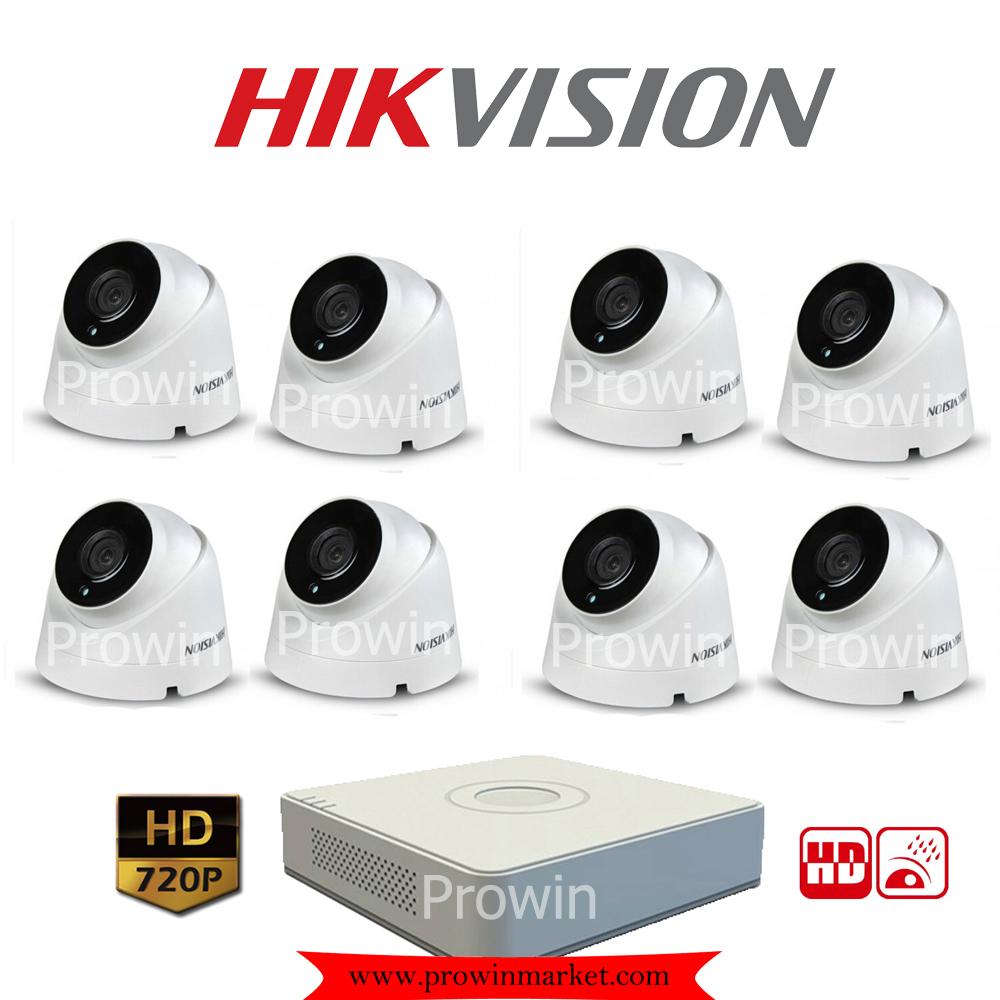 Hikvision (( Camera Set 8 )) HD720P (DS-2CE56C0T-IT3 x 8, DS-7108HGHI-E1 x 1)