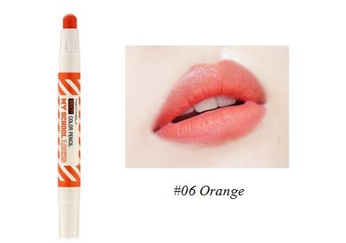 ++พร้อมส่ง++Tony Moly My School Looks Multi Color Pencil 1.4g สี 06 Orange ลิปดินสอ สีสวย หวาน น่ารัก ใช้ได้ทั้งริมฝีปากและแก้ม