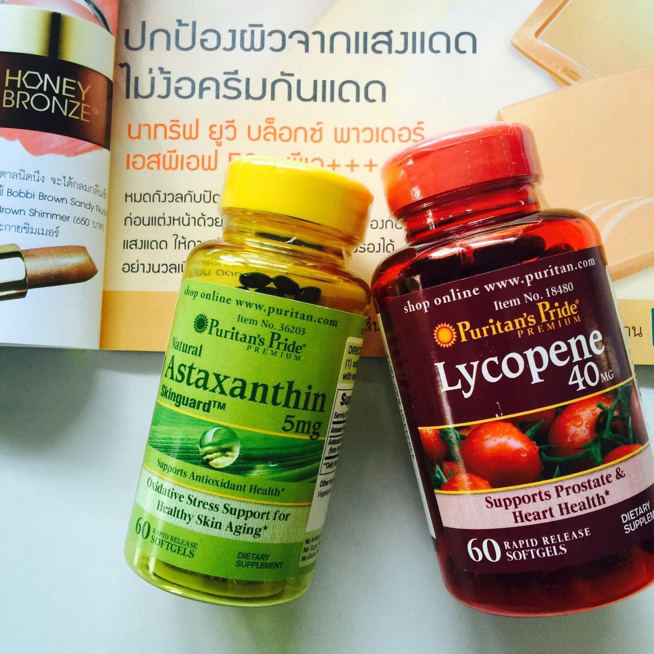 Puritan's Pride Astaxanthin 5 mg 60 Softgels แอสตาแซนธิน + Puritan Lycopene 40 mg/60 Softgel สารสกัดจากมะเขือเทศเข้มข้น เซ็ทผิวขาวอมชมพู ผิวอ่อนเยาว์ ป้องกันแสงแดด